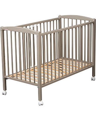 Combelle Arthur, Solid Beech Wood Cot with Wheels, 70 x 140 cm - Light Grey Cots & Cotbeds
