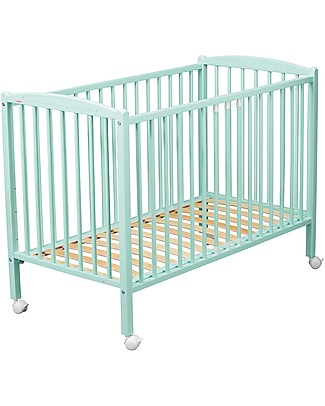 Combelle Arthur, Solid Beech Wood Cot with Wheels, 70 x 140 cm - Mint Cots & Cotbeds