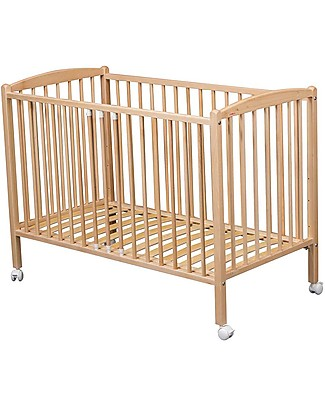 Combelle Arthur, Solid Beech Wood Cot with Wheels, 70 x 140 cm - Natural Cots & Cotbeds