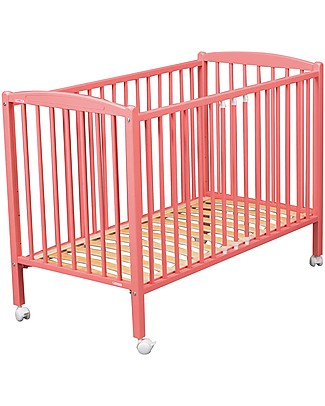 Combelle Arthur, Solid Beech Wood Cot with Wheels, 70 x 140 cm - Pink Cots & Cotbeds