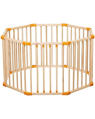 Combelle Hugo, Solid Beechwood Round Playpen, Natural - Four removable bars! Cots & Cotbeds