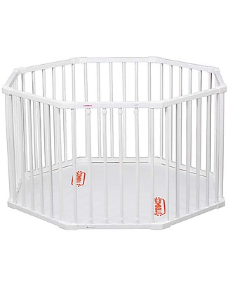 Combelle Hugo, Solid Beechwood Round Playpen, White - Four removable bars! Cots & Cotbeds