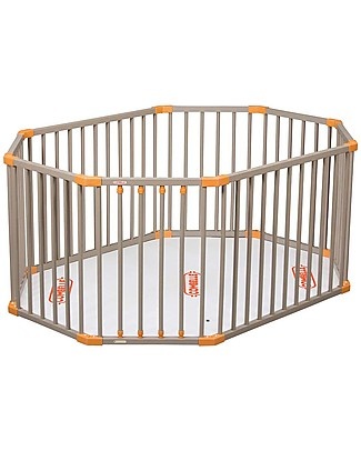 Combelle Louis, Solid Beechwood Oval Playpen, Light Grey - Four removable bars! Cots & Cotbeds