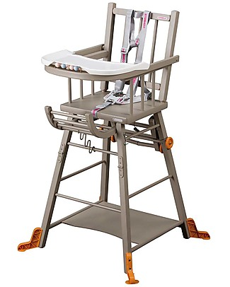 Combelle Marcel, Solid Beech Wood Convertible High Chair, Light Grey – Becomes a little trolley! High Chairs