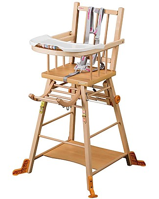 Combelle Marcel, Solid Beech Wood Convertible High Chair, Natural – Becomes a little trolley! High Chairs