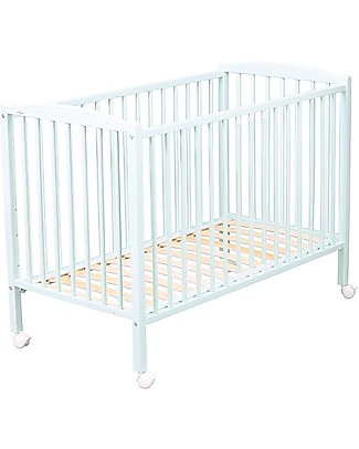 Combelle OUTLET - Arthur, Solid Beech Wood Cot with Wheels, 60 x 120 cm – White Cots & Cotbeds