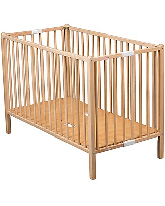 Combelle Roméo, Solid Beech Wood Foldable Cot, 60 x 120 cm - Natural Cots & Cotbeds