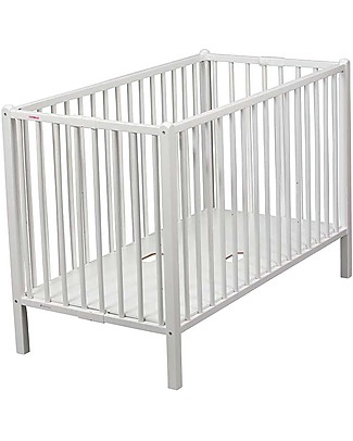 Combelle Roméo, Solid Beech Wood Foldable Cot, 60 x 120 cm - White Cots & Cotbeds