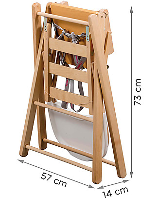 Combelle Sarah, Solid Beechwood Ultra-Foldable High Chair, Natural - 57 x 73 x 14 cm High Chairs