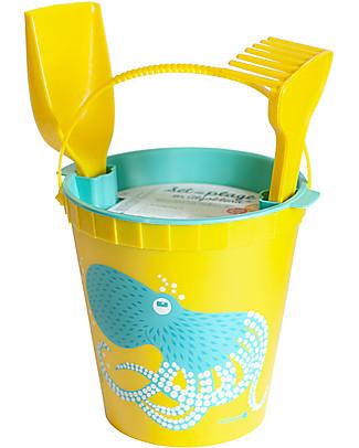 Coq en Pâte Beach Toy Set - Octopus Yellow - 100% Algoblend® (Brown Algae) Beach Toys
