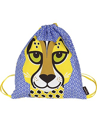 Coq en Pâte Cheetah Kids Soft Backpack/Bag, Blue - 100% Organic Cotton (37 x 33 cm) null