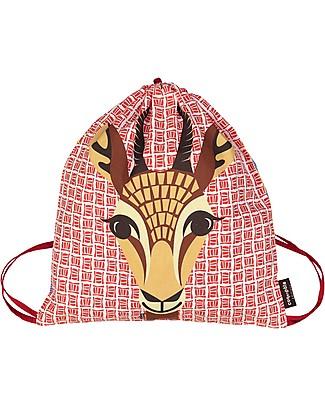 Coq en Pâte Gazelle Kids Soft Backpack/Bag, Red - 100% Organic Cotton (37 x 33 cm) null