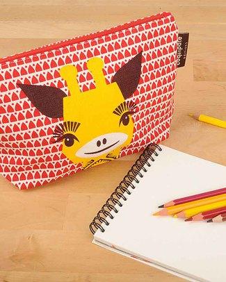 Coq en Pâte Giraffe Red Pencil Case/Pouch - 100% Organic Cotton Canvas null