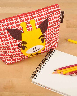 Coq en Pâte Giraffe Red Pencil Case/Pouch - 100% Organic Cotton Canvas Pencil Cases