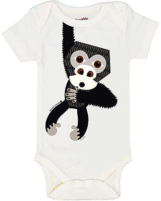 Coq en Pâte Gorilla Short Sleeved Bodysuit, Blue - 100% organic cotton jersey Short Sleeves Bodies