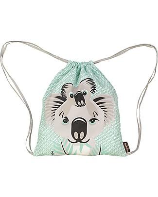 Coq en Pâte Koala Kids Soft Backpack/Bag, Light Green- 100% Organic Cotton (37 x 33 cm) Small Backpacks