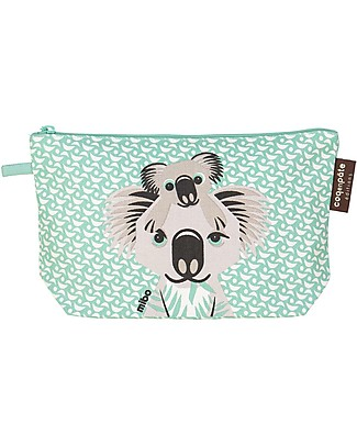 Coq en Pâte Koala Pencil Case/Pouch, Light Green - 100% Organic Cotton Canvas Pencil Cases