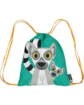 Coq en Pâte Lemur Kids Soft Backpack/Bag, Green- 100% Organic Cotton (37 x 33 cm)	 Small Backpacks