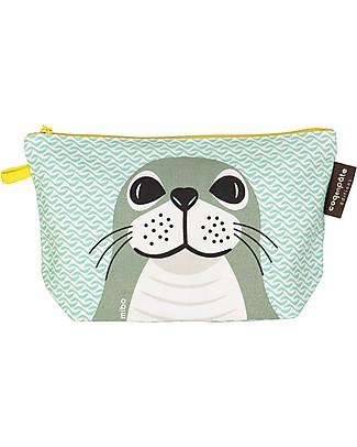 Coq en Pâte Light Green Seal Pencil Case/Pouch - 100% Organic Cotton Canvas null