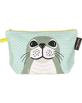 Coq en Pâte Light Green Seal Pencil Case/Pouch - 100% Organic Cotton Canvas Pencil Cases