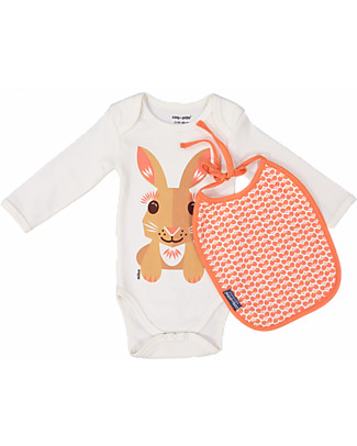 Coq en Pâte Long Sleeved Bodysuit and Bib Rabbit, Coral Pink - 100% organic cotton Long Sleeves Bodies