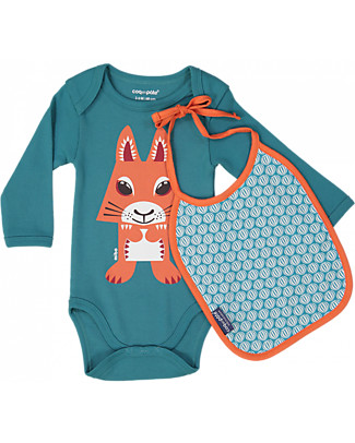 Coq en Pâte Long Sleeved Bodysuit and Bib Squirrel, Teal Blue - 100% organic cotton Long Sleeves Bodies