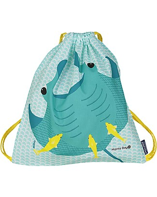 Coq en Pâte Manta Ray Kids Soft Backpack/Bag, Lake Blue - 100% Organic Cotton (37 x 33 cm)	 Small Backpacks