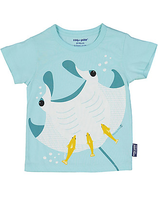 Coq en Pâte Manta Ray T-shirt, Lake Blue - 100% organic cotton T-Shirts And Vests