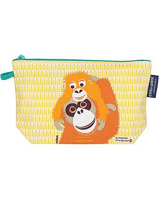 Coq en Pâte Orangutan Pencil Case/Pouch, Yellow - 100% Organic Cotton Canvas Pencil Cases
