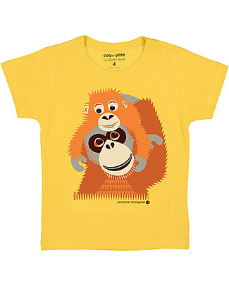 Coq en Pâte Orangutan T-shirt, Yellow - 100% organic cotton T-Shirts And Vests