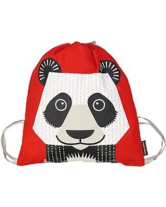 Coq en Pâte Panda Kids Soft Backpack/Bag, Red - 100% Organic Cotton (37 x 33 cm) Small Backpacks