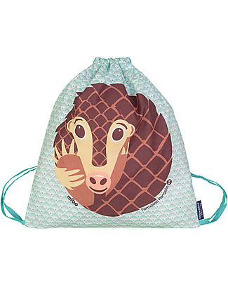Coq en Pâte Pangolin Kids Soft Backpack/Bag, Blue - 100% Organic Cotton (37 x 33 cm)	 Small Backpacks