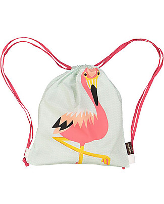 Coq en Pâte Pink Flamingo Kids Soft Backpack/Bag, Light Blue - 100% Organic Cotton (37 x 33 cm) Small Backpacks