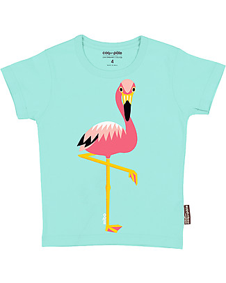 Coq en Pâte Pink Flamingo T-Shirt, Light Blue - 100% Organic Cotton T-Shirts And Vests