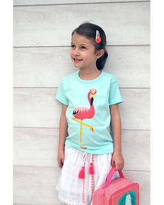 Coq en Pâte Pink Flamingo T-Shirt, Light Blue - 100% Organic Cotton T-Shirts And Vests