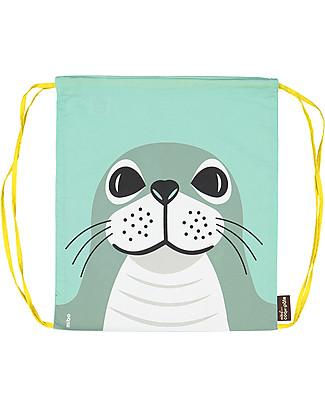 Coq en Pâte Seal Kids Soft Backpack/Bag, Light Green - 100% Organic Cotton (37 x 33 cm) Small Backpacks