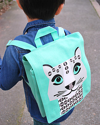 Coq en Pâte Snow Leopard Backpack by Mibo - 100% Organic Cotton (23x23x7.5 cm) Small Backpacks