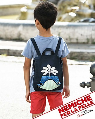 Coq en Pâte Whale Backpack by Mibo - 100% Organic Cotton (23x23x7.5 cm) Small Backpacks