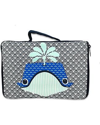 Coq en Pâte Whale Blue Valisette - 100% Organic Cotton Canvas Travel Bags