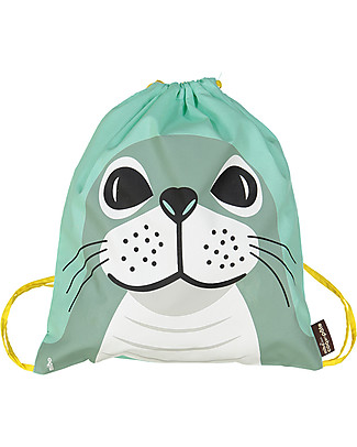 Coq en Pâte Seal Kids Soft Backpack/Bag, Light Green - 100% Organic Cotton (37 x 33 cm) Small Backpacks