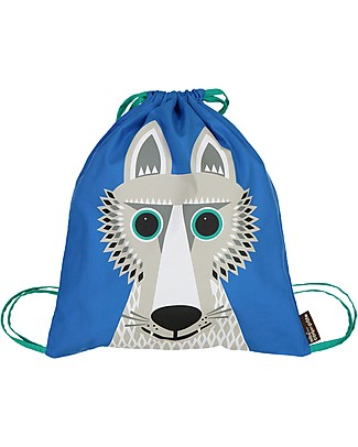 Coq en Pâte Wolf Kids Soft Backpack/Bag - 100% Organic Cotton (37 x 33 cm) Small Backpacks