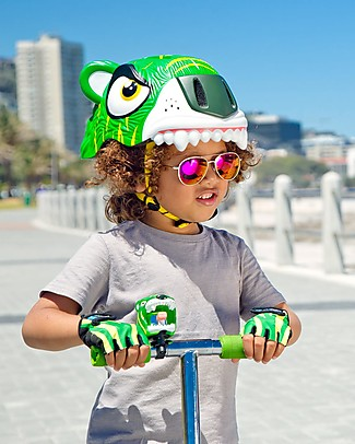 Crazy Safety Kids Bike Helmet, Green Tiger - Colorful, Lightweight and Indestructible! Bycicles