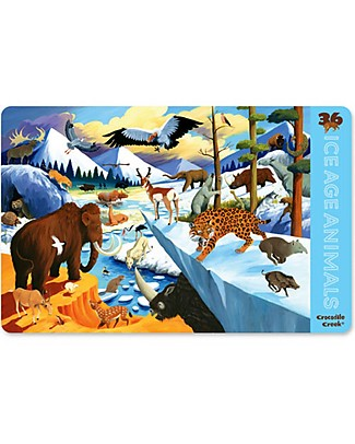 Crocodile Creek 2-sided Placemat, 36 Ice Age Animals - 28 x 43,5 cm Meal Sets