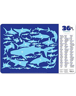 Crocodile Creek 2-sided Placemat, 36 Sharks - 28 x 43,5 cm Meal Sets
