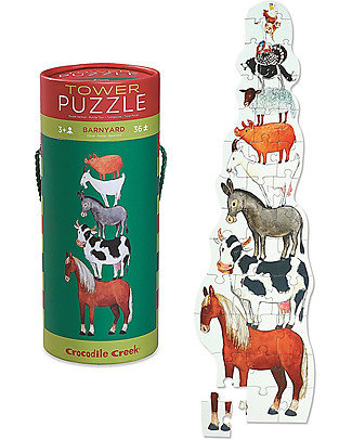 Crocodile Creek 36piece Puzzle in Canister,Barnyard - A Tower of Animals! Puzzles