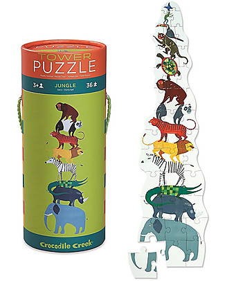 Crocodile Creek 36piece Puzzle in Canister, Jungle - A Tower of Animals! Puzzles