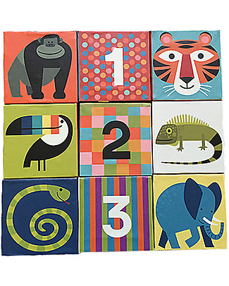 Crocodile Creek Jumbo Block Puzzle, Many Wonderful Animals and Numbers! - 9 pieces Puzzles
