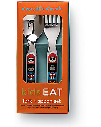Crocodile Creek Melamine Baby Cutlery Set, Spoon + Fork, Animalia - Free from BPA, PVC, phthalates, lead! Spoons, Cutlery & Chopsticks