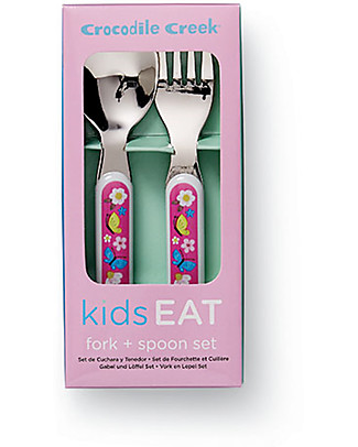 Crocodile Creek Melamine Baby Cutlery Set, Spoon + Fork, Backyard Friends - Free from BPA, PVC, phthalates, lead! Spoons, Cutlery & Chopsticks