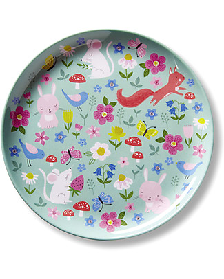 Crocodile Creek Melamine Baby Plate, 19.5 cm, Backyard Friends - Free from BPA, PVC, phthalates, lead! Bowls & Plates